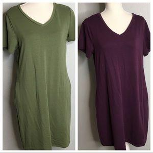 Time & Tru Purple T-shirt Dress & Green Dress